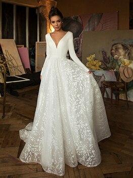 Booma Lace Wedding Dress 2019 Long Sleeve V-neck Boho Bridal Gowns Satin Backless White Vestido de noiva Plus size custom 4