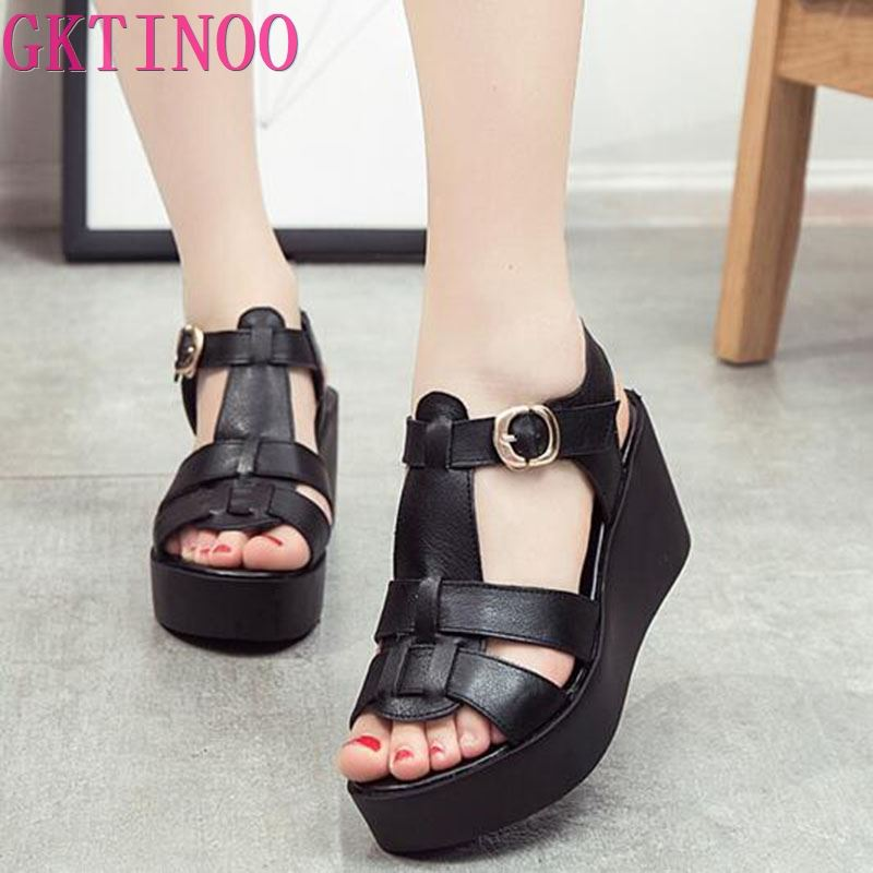 GKTINOO 2020 Women Sandals Genuine Leather Platform Thick Heel Summer Shoes  Open Toe Sandals Platform Wedges Women's Shoes|shoes open|shoes open  toewedge women shoes - AliExpress