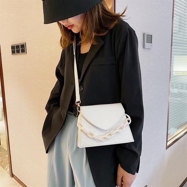 Stone Pattern Small PU Leather Crossbody Bags For Women 2020  Shoulder Handbags Female Travel Chain Cross Body Bag