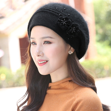 Women Beret Winter Knit Hat Angora Beanie Warm Flower Pearl Double Layers Thermal Snow Outdoor Accessory