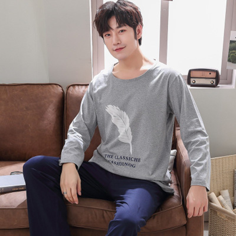 Men's Pajamas Set Spring Men Pajamas Long Sleeve Male Pajama Set Men Pure Full Cotton Pajamas For Men Sleepwear Suit Homewear