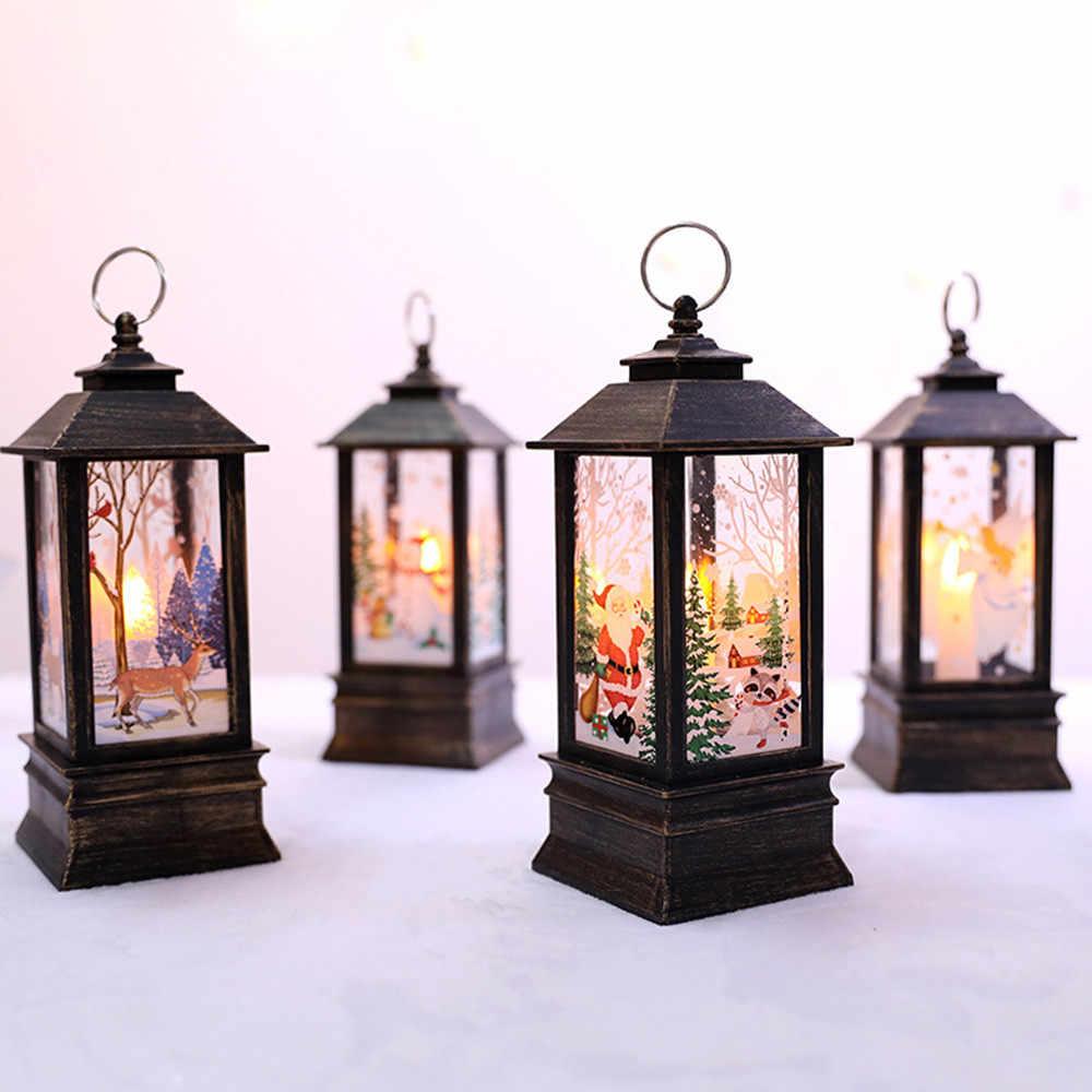 2019 LED świeca bożonarodzeniowa uchwyt świeczki tea light klatki ełk święty mikołaj drukowanie świecznik boże narodzenie dekoracje do domu # T2