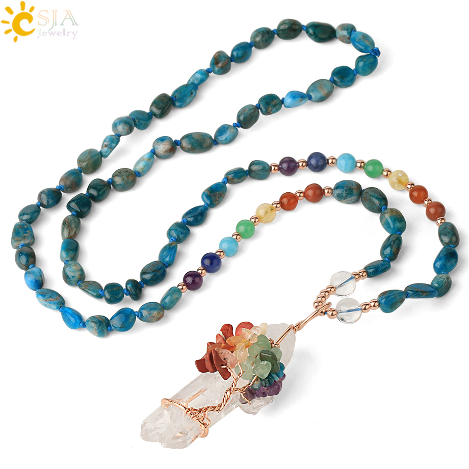CSJA Irregular Natural Stone 7 Chakra Long Necklace Knotted Tumbled Bead Rose Gold-color Wire Wrap Life Tree Pendant Female G382
