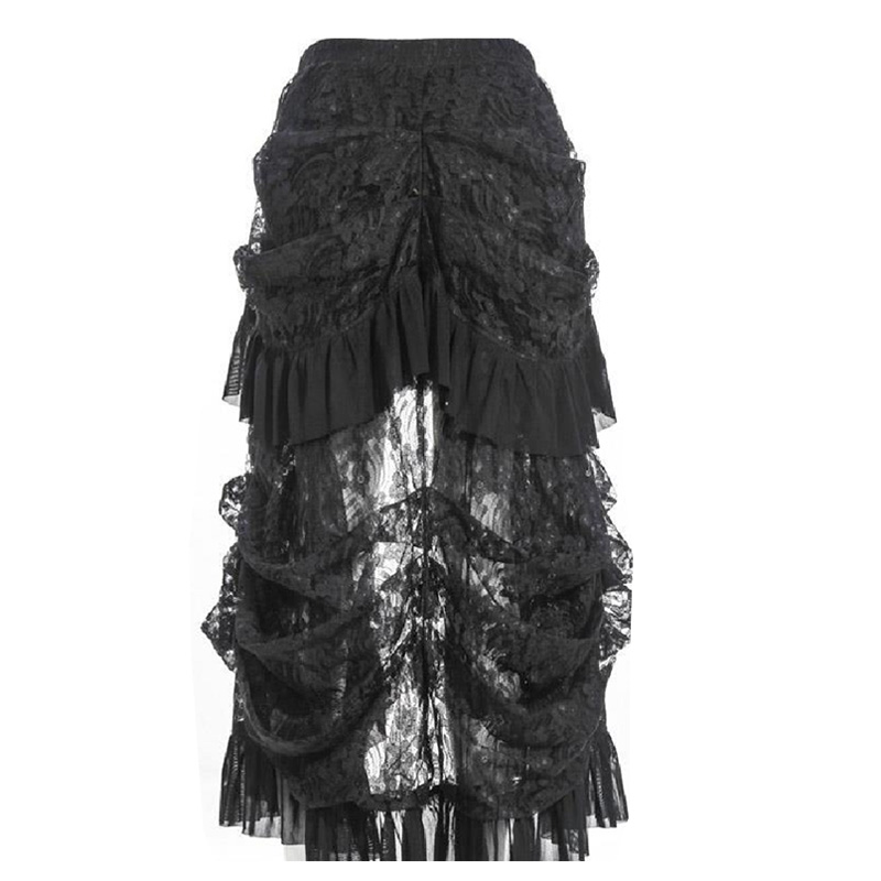 Long Skirt Gothic Lolita Steampunk Lace Vintage Rock Clothing High Low Skirt New