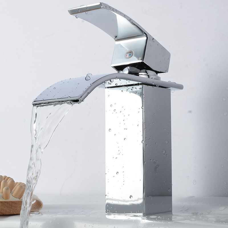 Square Chrome Waterfall Bathroom Faucet Vanity Sinks Mixer TapSingle Handle Wide SpoutCold And Hot Water Tap
