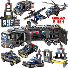 City Police Station Car Building Compatible Lepinings Blocks 8IN1 SWAT City Police Truck Car Building Block Toy For Boy Children bela 10424 urban city police police guard building block toys compatible with 60047