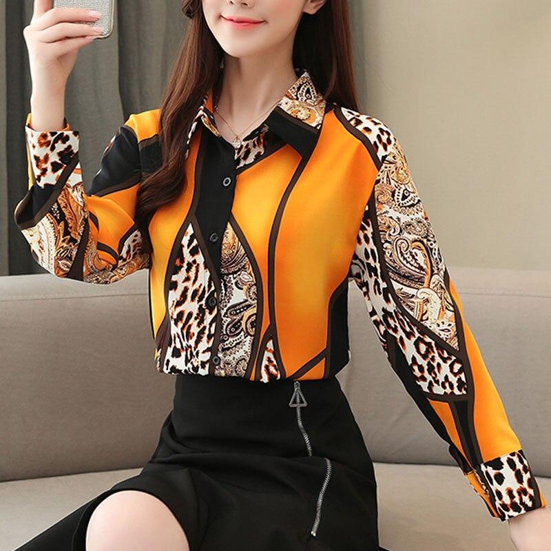 2021 Blouse Women Fashion Chiffon Shirts Women Office Lady Tops Spliced Leopard Blusas Femininas Shirts Leopard Button 8092 50 5