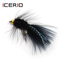 Icerio 10 pçs lanolly bugger streamer moscas flashabou cauda de cristal truta salmão pesca com mosca iscas #8