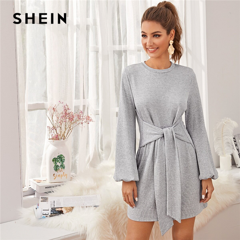 SHEIN Grey Bishop Sleeve Knot Front Sweater Cute Dress Women Winter Spring O-neck Solid Straight Casual Short Dresses 1