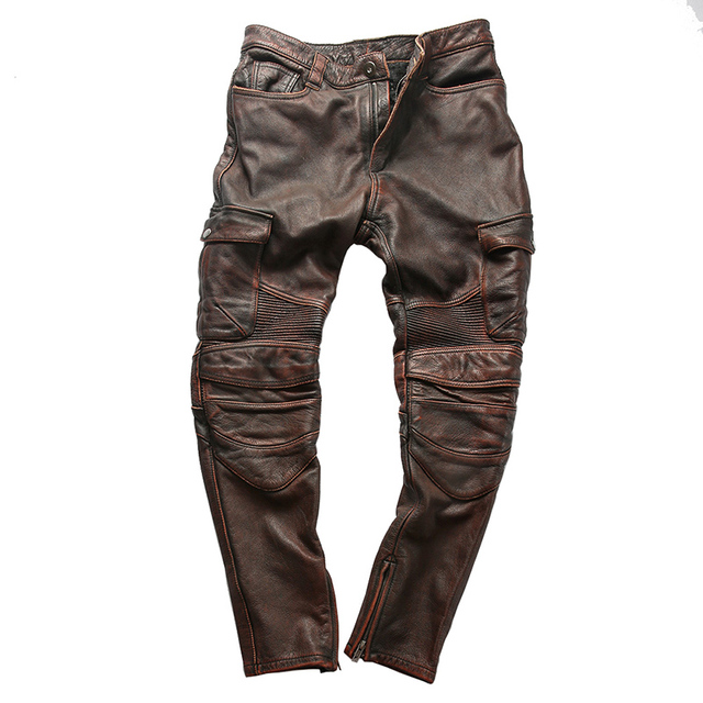 Factory 2019 New Men Vintage Gray tooling multi-pocket Cow leather motorcycle leather pants Fashion Pleated Rider Biker pants 43