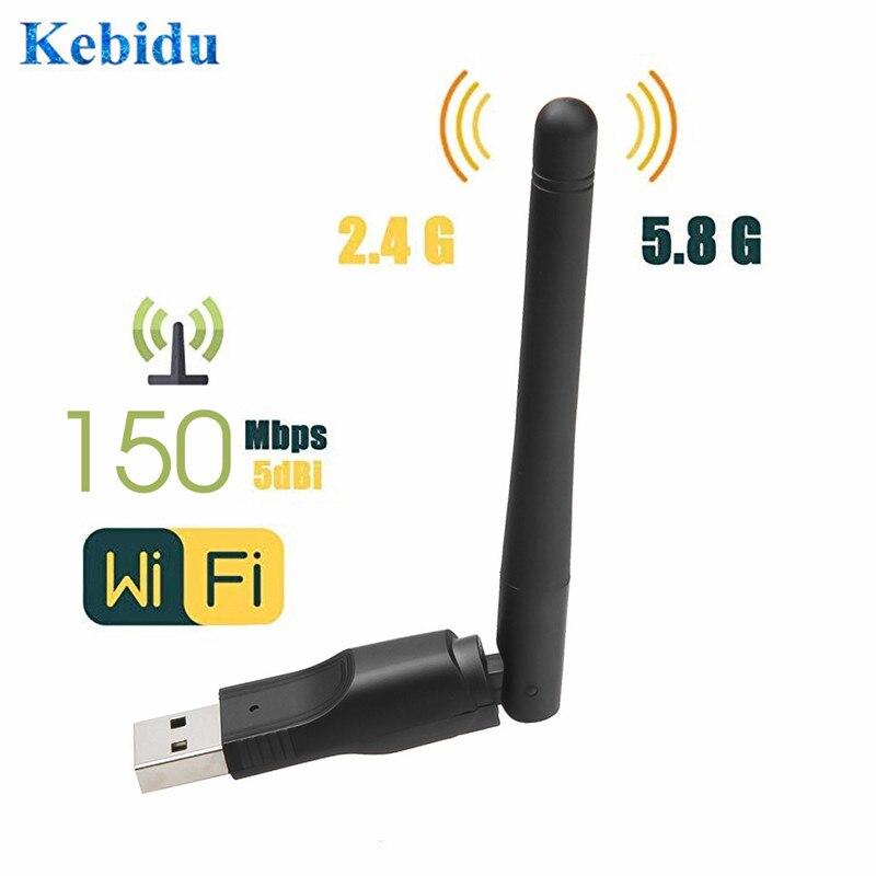 Беспроводная сетевая карта Kebidu 150 Мбит/с 2,4 ГГц WiFi USB 2,0 LAN адаптер с поворотная антенна для портативных ПК Мини Wi-Fi ключ