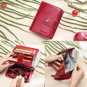 Image 2 - Contacts Genuine Leather Wallets Women Men Wallet Short Small Rfid Card Holder Wallets Ladies Red Coin Purse Portfel Damski