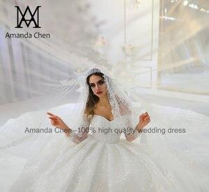 Image 2 - abendkleid Off Shoulder Long Sleeve Lace Wedding Dress 2020