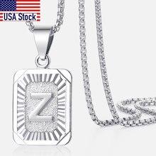 A-Z Buchstaben Silber Farbe Charme Anhänger Halsketten Platz Hauptstadt Edelstahl Brief Halskette Unisex Alphabet Jewely GPM11