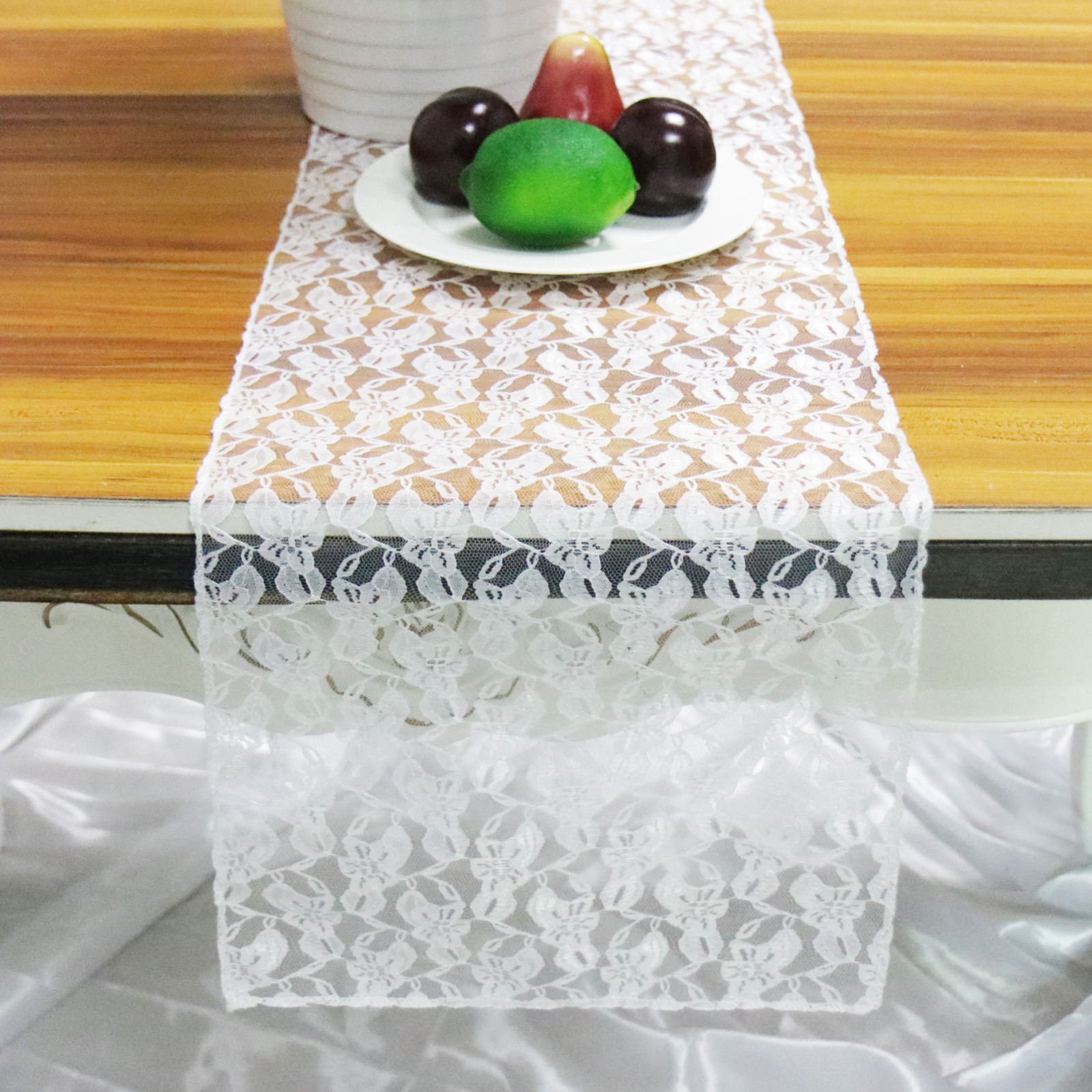 1pcs  White Lace Table Runner Floral Table Cover Modern For Wedding Decor Home Hotel Birthday Party Table Decor Supply 30*275cm