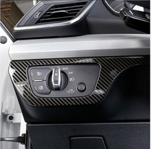 Car Styling Headlight Button Frame Decoration Cover Trim For Audi Q5 FY 2018 2019 LHD Carbon Fiber Color Interior Accessories