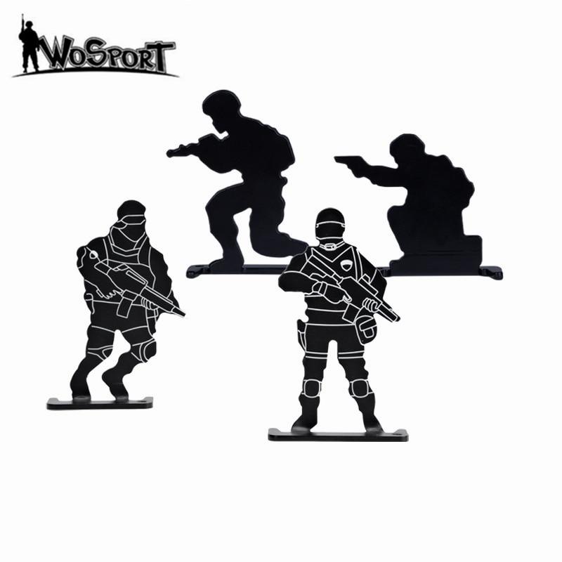 4Pcs/Set Soldier Shooting Metal Target Set Outdoor AEG GBB Airsoft Shooting Training Practicing Target Paintball Accessories BK