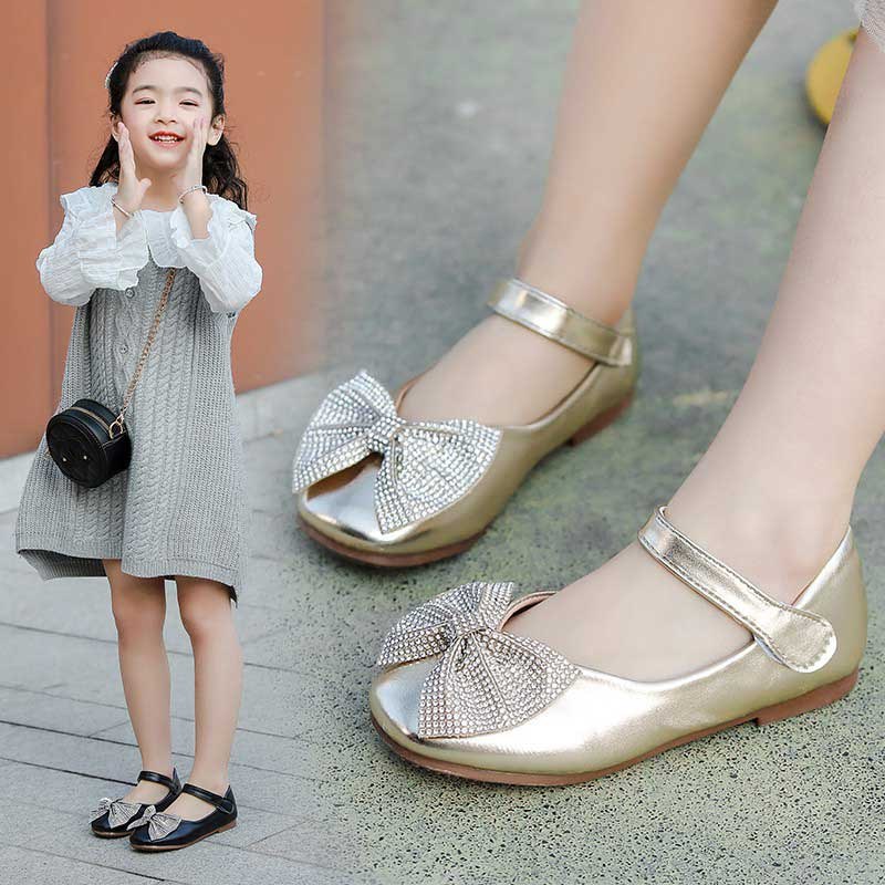 Girls Leather Shoes Children Princess Soft Casual Shoes Kids 2020 Spring Fashion Bow Dance Shoe Wedding Party Toddler Shoe 680