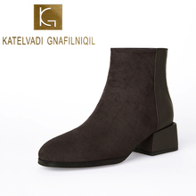 KATELVADI Ankle boots For Women Dark Brown Flock Motorcycle Boots 4CM Thick Heels Comfortable Size 34-43 K-541