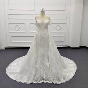 Image 1 - Eslieb 3d цветочное кружевное свадебное платье с жемчугом 2020 Милое Свадебное Платье