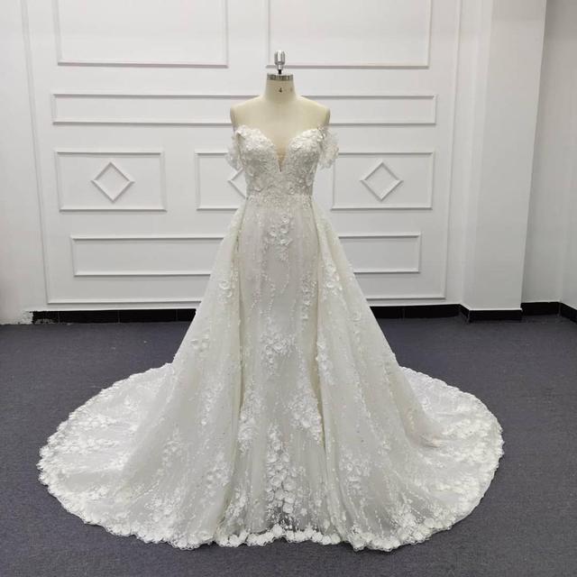 Eslieb 3d цветочное кружевное свадебное платье с жемчугом 2020 Милое Свадебное Платье
