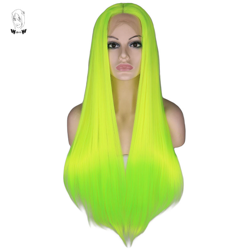 WHIMSICAL W  Long Silky Straight Neon Yellow Color Straight Wigs Lace Front Synthetic Wig For Women Natural Heat Resistant Hair