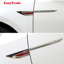 Stainless steel Car Side Fender 3D Vent Air Sticker Decal Automobile Engine Cover Stickers For Volkswagen vw JETTA MK5