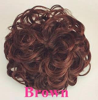 Шнурок шиньоны конский хвост наращивание волос булочка шиньон для создания прически бразильские человеческие волосы булочка пончик шиньоны волосы кусок парик не Реми - Цвет: Brown-Curly