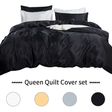 3pcs Bedding Kit Duvet Cover Set White Black Sets Satin Silk Bed Case Used Single Linen China Luxury