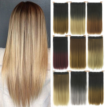 Hair-Pieces Synthetic-Hair-Extensions Straight Ombre Long 5-Clip-In Women Gradient GRES