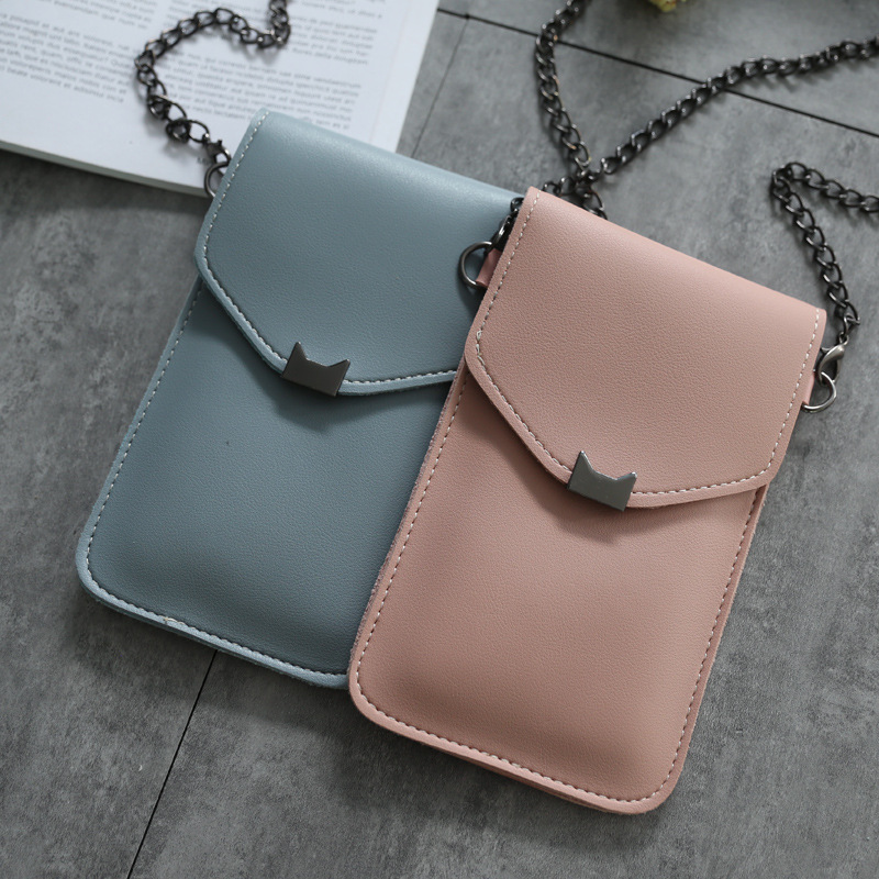 Cat Ear Transparent Touch Screen Retro Simple Mobile Phone Bag 2019 Women Chain Messenger Bags Small Flap Bag Mini Shoulder Bag