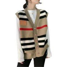 Nouvelle mode printemps 2021 femmes chandails gilet décontracté chaud longue conception femme tricoté pull rayé gilet Cardigan chandail dame