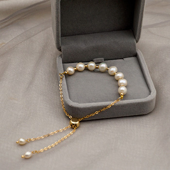 Korean Original Minimalist Design Natural Pearl Gold Bracelet Woman Fashion Personality Cuff Bracelet Jewelry Anniversary Gifts