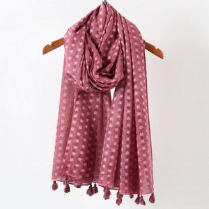 Image 5 - Hiyab de lunares plano liso para mujer, bufanda de gran tamaño, chal islámico, para la cabeza, suave, larga, mezcla de algodón, hijabs lisos