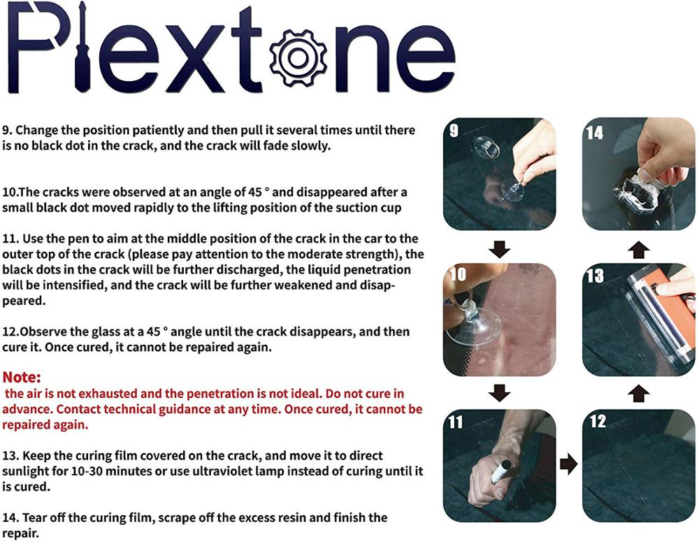 Plextone DIY Windshield Repair Kit for bulls eyes star half moon long crack combination repairment