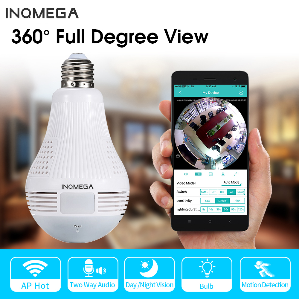INQMEGA 960P Wireless Panoramic Lamp Bulb Wifi Home Security Camera CCTV Fisheye 360 Degree Camera WIFI Network Remote Monitor