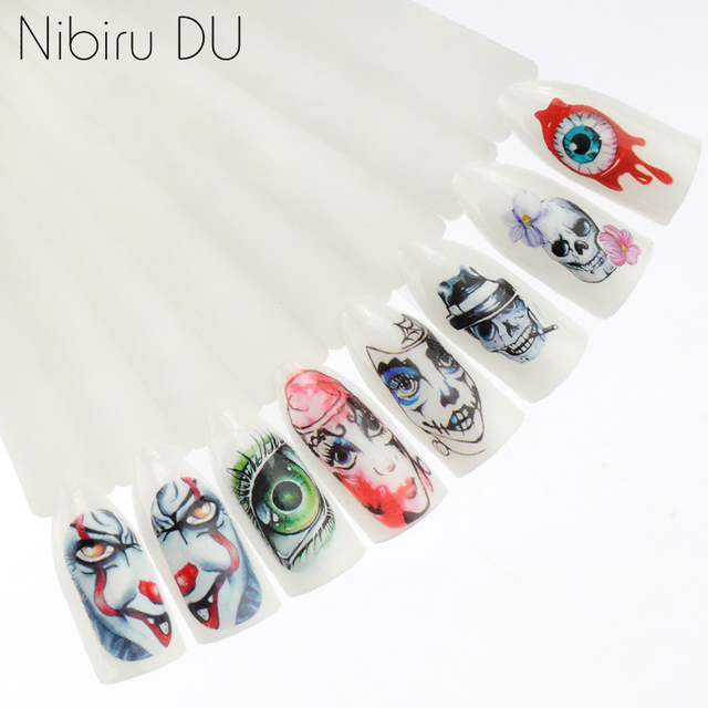 25pcs Halloween Designs Nail Stickers Skull Bone Clown Ghost Big Eye Horror Decals Water Transfer Stickers Art DIY Decorations