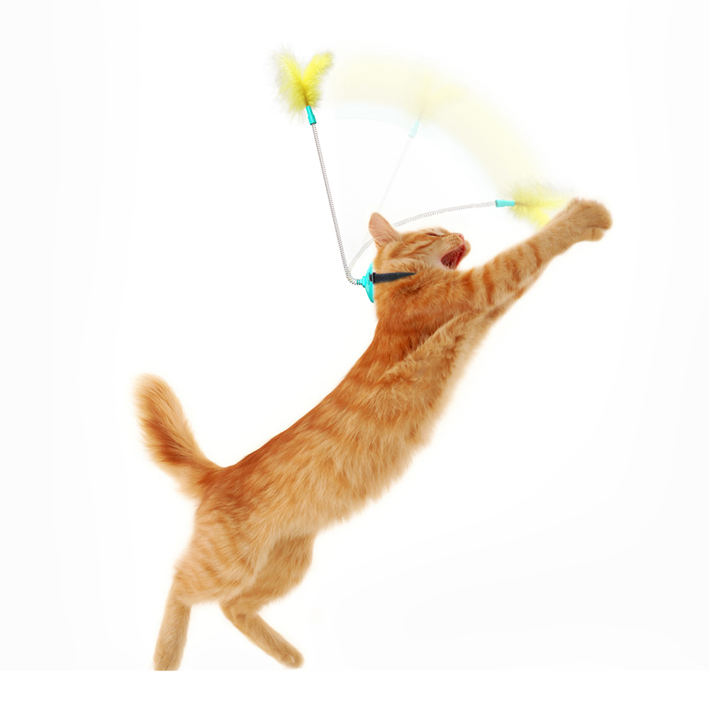 2021 New Head-Mounted Cat Toys Self Playing Interacting Pet Toy Spring and Feather Funny Cat Stick for Indoor Cats Dropshipping img3