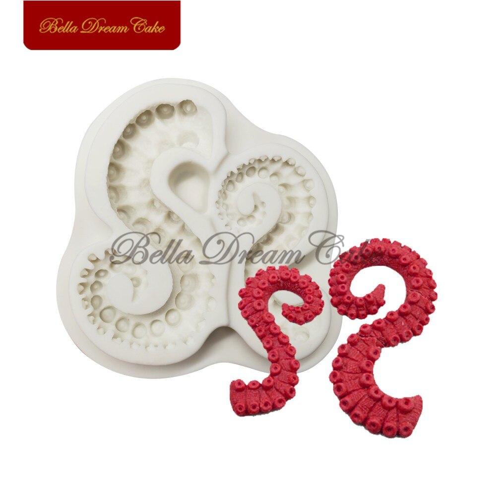 Octopus Tentacles Silicone Mold Fondant Chocolate Gumpaste Cake Mould DIY Handmade Soap Molds Cake Decorating Tools Bakeware