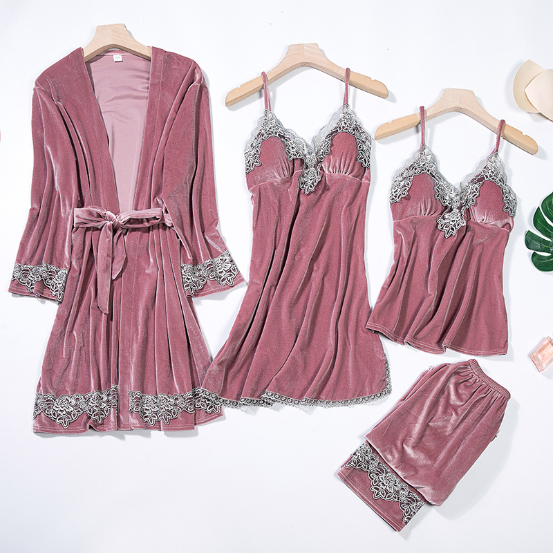 Sexy Woman Velour 4PC Strap Top Pants V-Neck Sleep Robe Bath Gown Kimono Pajamas Sets Sleepwear Nightgown Home Wear Nightdress