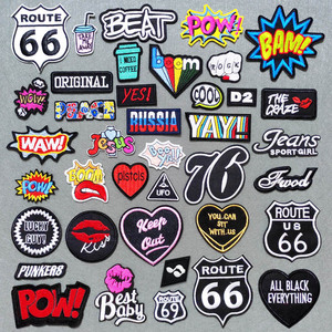 ROCK BOOM BAM POW Patch for Clothing Iron on Embroidered Sewing Applique Cute Sew On Fabric Badge DIY Apparel Accessories(China)