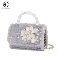 RARE CREATIVE Fashion Faux Fur Shoulder Bag For Women Handbag Casual Tote Bag Plush Simple Small Bag Christmas Gift 2019 PS8042