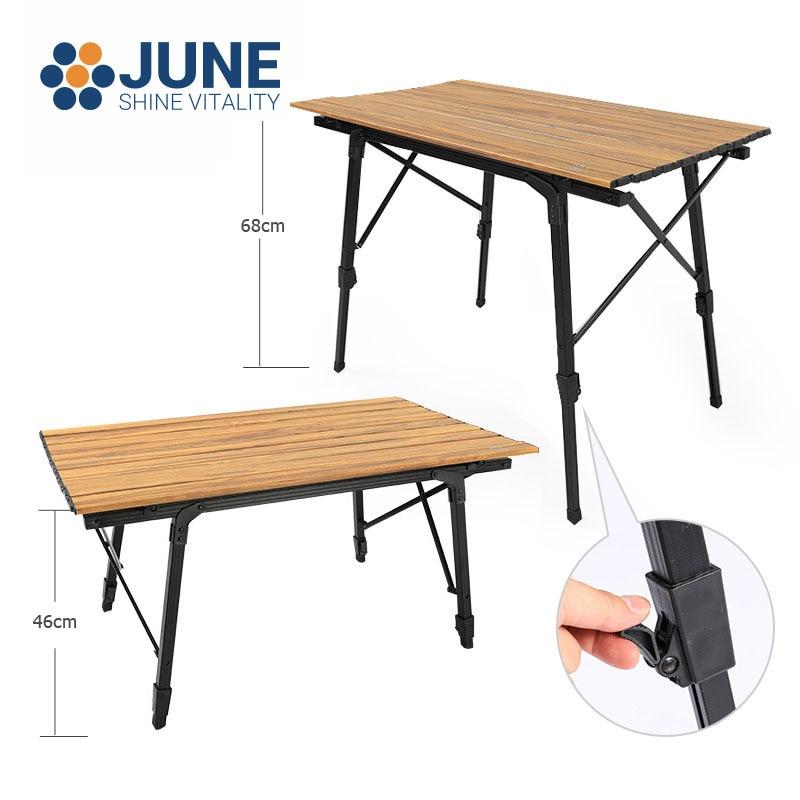 Походный телескопический складной стол, столик из алюминиевого сплава с отделкой под дерево для сада, пикника, барбекю, дорожный стол для са...