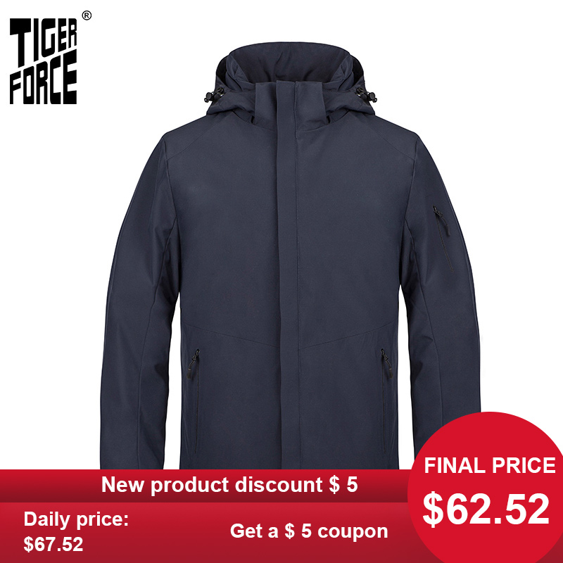 TIGER FORCE 2020 New Spring Men's Jacket Quality  Casual Outdoor Warm Male Hooded Coat Business Casual Men Clothing Parka 50623