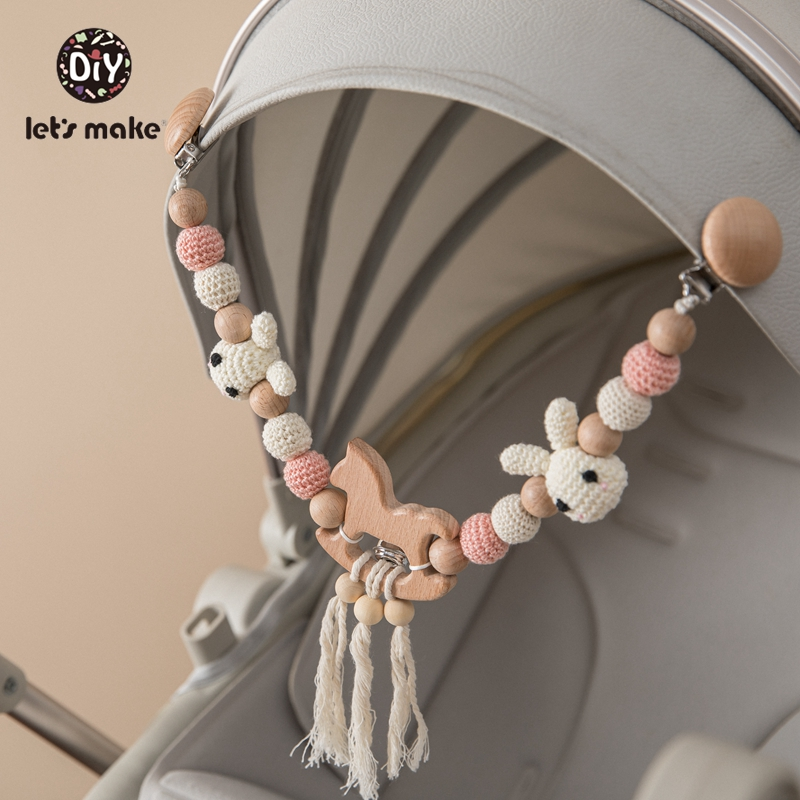 Let's Make Wood Teether Baby Bed Hanging Rattles Toy Make Noise