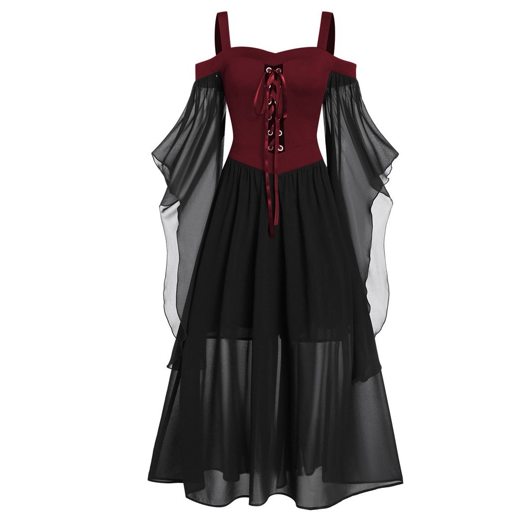 Plus Size Women Gothic Dress Halloween Off Shoulder Butterfly Sleeve Lace Up Party Maxi Dress Elegant Bandage Dresses 2020