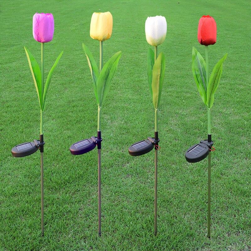 Outdoor Solar Garden Stake tulip Lights with Changing LED Solar Stake Lights for Garden Patio Backyard Night Lights