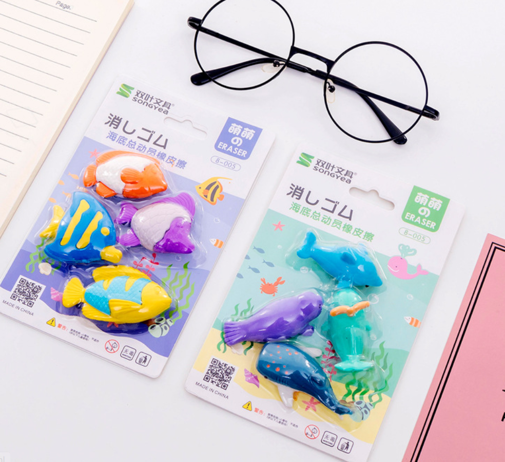 1 Set Cute Cartoon Animal Dolphin Erasers Shark Kawaii Whale Seal Pencil Eraser Fish Rubber Eraser School Supplies Stationery