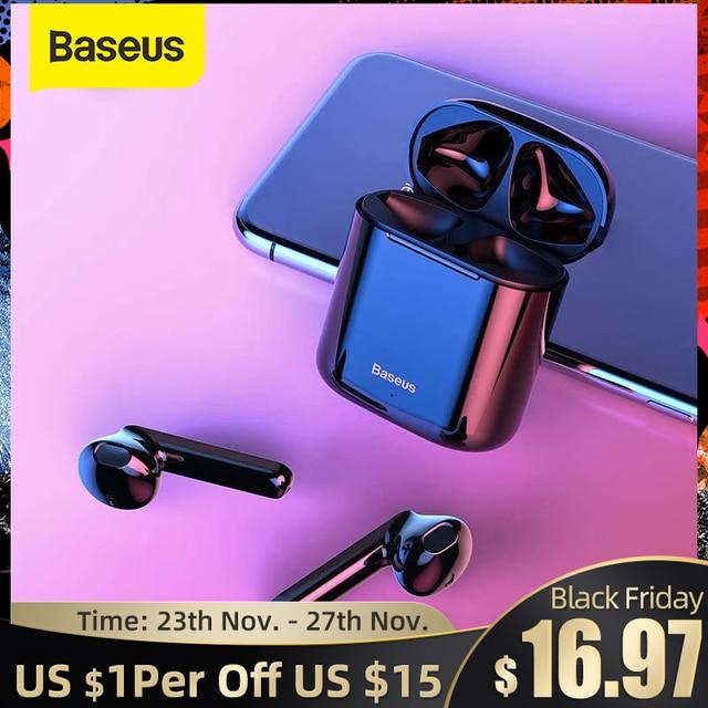 Baseus Bluetooth אוזניות W09 TWS Bluetooth 5.0 אוזניות אלחוטי דיבורית אוזניות סטריאו HD מדבר Auriculares Bluetooth