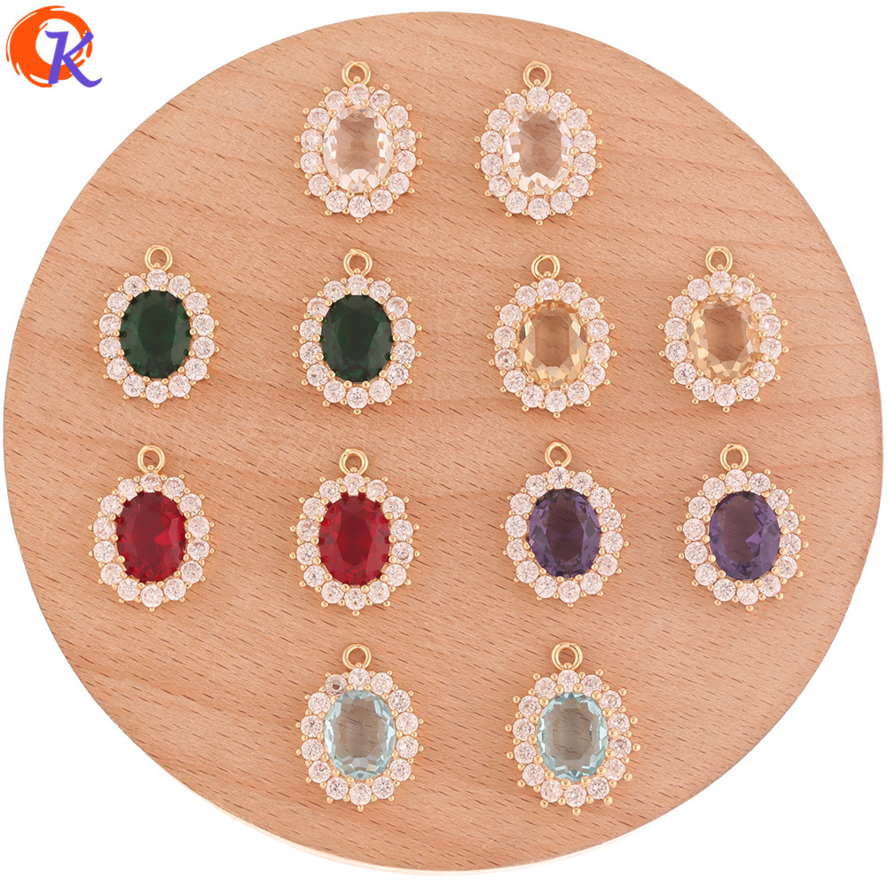 Cordial Design 30Pcs 14*19MM Crystal Pendant/Jewelry Accessories/Hand Made/Oval Shape/CZ Pendant/DIY Making/Earring Findings